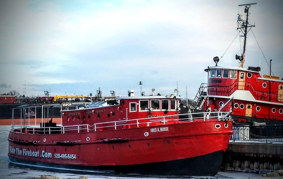 Fire boat test Algoma Wisconsin
